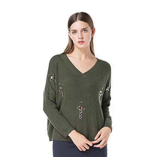 Frauen V Kragen Normallack Langes Hülsen Metall Hohle Beiläufige Strickjacke Elastizität Pullovers . Army Green . One (Army Girl Kostüm Tumblr)