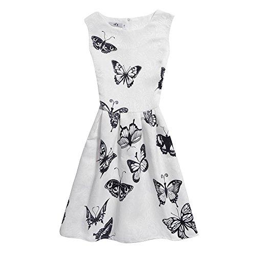Mädchen Kleid Damen IHRKleid® Süß Tochter Mama Kein Ärmel Kleid Schmetterling Drucken Mode Self-Anbau Kleid (Tochter: 160, 12 Jahren, Style 9) (Süße 12 Jahre Alt Kostüme)