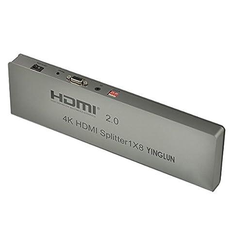 YINGLUN 1x8 HDMI Splitter 2.0 4k mit EDID 1 Eingang 8 Ausgang 3D Verteilt UHD 4kx2k HD Signal wie SkyHD, Virgin box, Xbox 360, Xbox One, PS3, PS4, Nintendo Wii U auf 8 HD Display