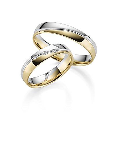 333 GOLD Trauringe in Bicolour inkl 3 Steine + Gravur, Paarpreis von Rubin Juwelier poliert