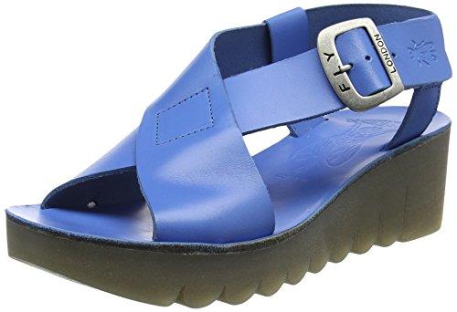 FLY London Yild880, Sandales Bout Ouvert Femme Bleu (Smurf Blue 003)