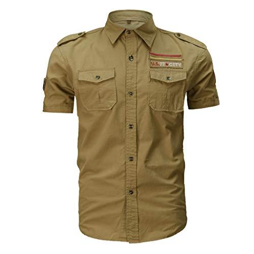 Zackate Männer Casual New Military Style Herren Baumwolle Kurzarm Shirts mit Tasten Einfarbig Lose T-Shirt Tops Pullover Hemden