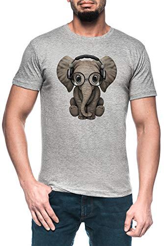 Linda Bebé Elefante DJ Vistiendo Auriculares Y Lentes Hombre Gris Camiseta Manga Corta Men's Grey T-Shirt