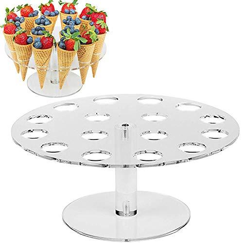 GCDN Eistüte Halter, 16 Loch Acryl Kegel Halter Bildschirm Ständer Kegel Sushi Finger Essen Ständer für Popcorn Kegel und Vieles Mehr, für Geburtstagsparty Fünfuhrtee Party (Transparent)