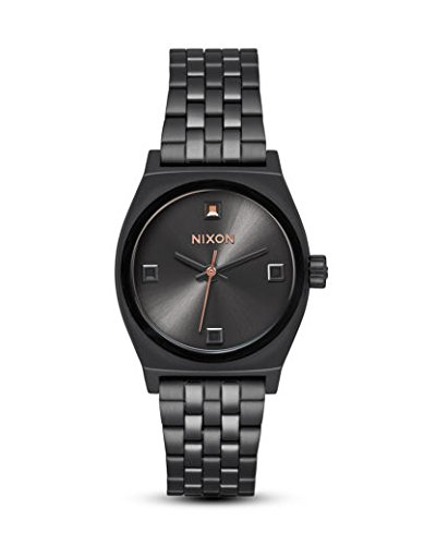 NIXON Quarzuhr Small Time Teller A399-2525-00 Black Crystal/Rose Gold