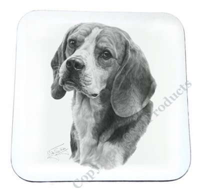 Mike Sibley cane Beagle sottobicchiere bianco