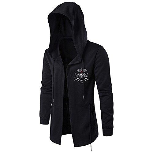 3 Kostüm Assassin's Schwarz Creed - Jinlan Fuzhuang Hoodie Sweatshirt Assassins Cosplay Jacke Witcher mit Kapuze Wind Mantel für Männer (XL, Schwarz 3)