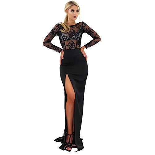Damen Rückenfrei Verband Abendkleid Kleid,TWIFER Langarm O Hals Cocktail Spitzenkleid