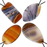 KYEYGWO Healing Reiki Thumb Worry Stone, Polished Top Drilled Stone Pendants for Jewelry Making, Pack of 4