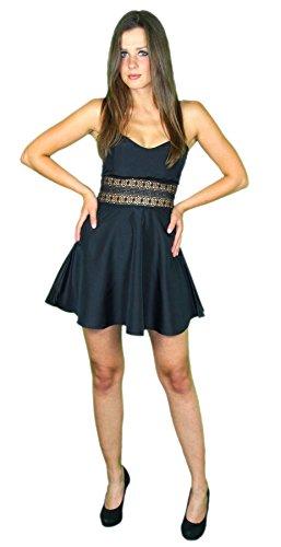 Preisvergleich Produktbild Foxxeo 40235 I Sexy Sommerkleid kurz Strandkleid Partykleid Cocktailkleid schwarz Gr. XS-XL, Größe:S