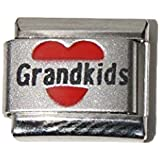 Grandkids in red heart laser charm - 9mm Italian charm fits Zoppini, Talexia, Boxing and Nomination style Italian charm bracelets