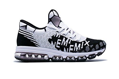 b8312cc12776 Onemix Uomo Scarpe da Corsa Traspirante Donna Mid-Top Air Cushion Sportive  Running Sneakers Unisex Adulto Nero Bianco 41 EU