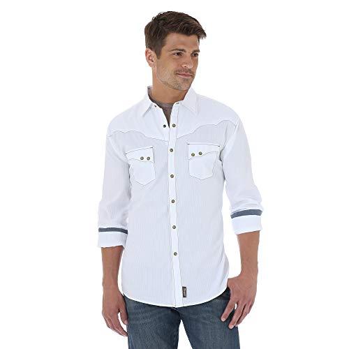 Wrangler Big & Tall Western Cowboy Cut Camisa de Trabajo de Manga Larga con Broche a presión para Hombre - Blanco - X-Large Tall