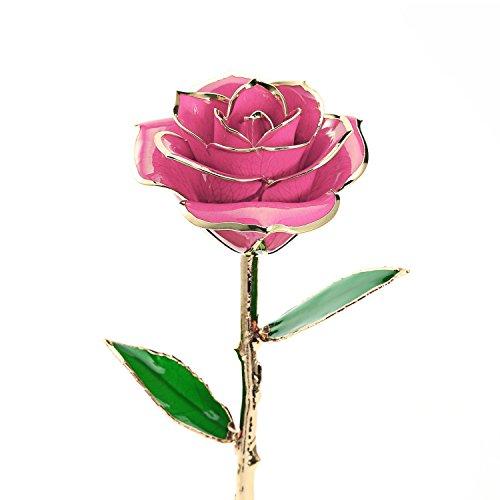 Regalo per lei, rosa conservata immersa in oro, una rosa per sempre. regalo romantico e personalizzato per compleanno di moglie o fidanzata, festa della mamma, anniversario di matrimonio pink