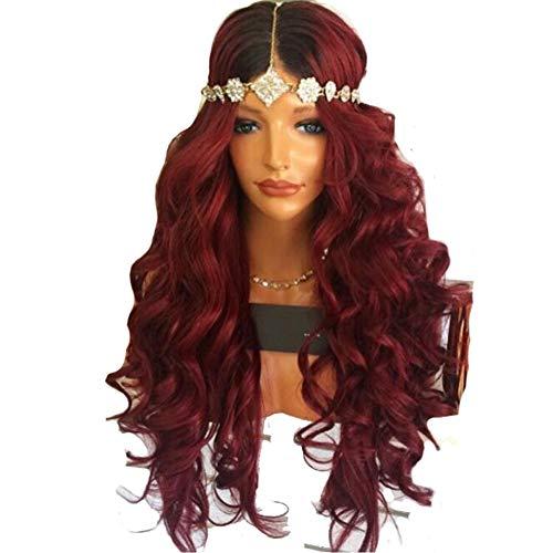 DANTB Synthetische Frauen Perücken Lange Lockige Weinrotes Haar Für Cosplay Fashion Halloween Party Kostüm 27