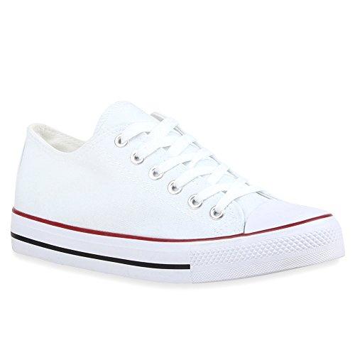 a11fd80ce473a6 Damen Schuhe Sneakers Sportschuhe Freizeit Stoffschuhe 69904 Weiss  Rotstreifen 39 Flandell