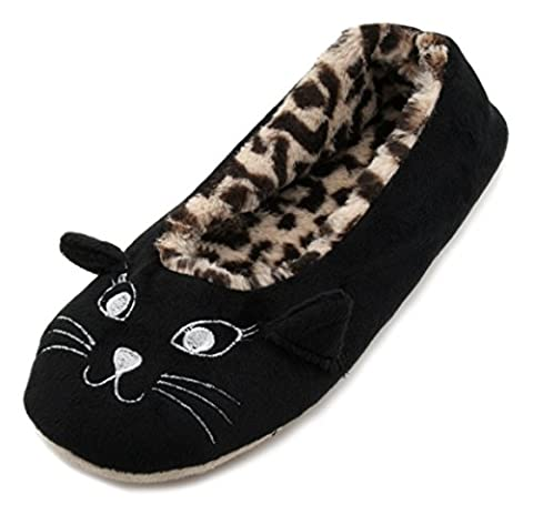 Slumberzzz Ladies Leopard Print Plush Lined Cat Face Slippers Black