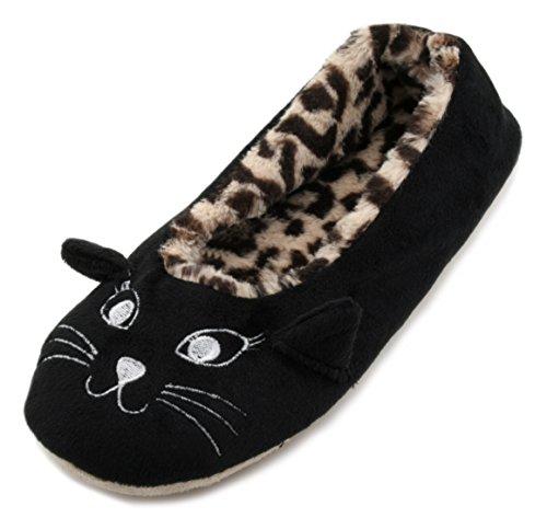 SlumberzzZ , Damen Hausschuhe schwarz schwarz (Leopard Schuhe Ballet)