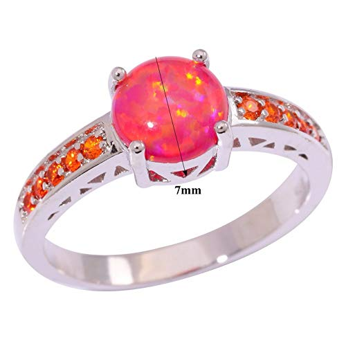 YUKFGH Ring Gift Gift Red Fire Opal Orange Garnet Silver Plated Fashion Jewelry for Women Wedding Ring Size 6 7 8 9 OJ9145-Silver,9