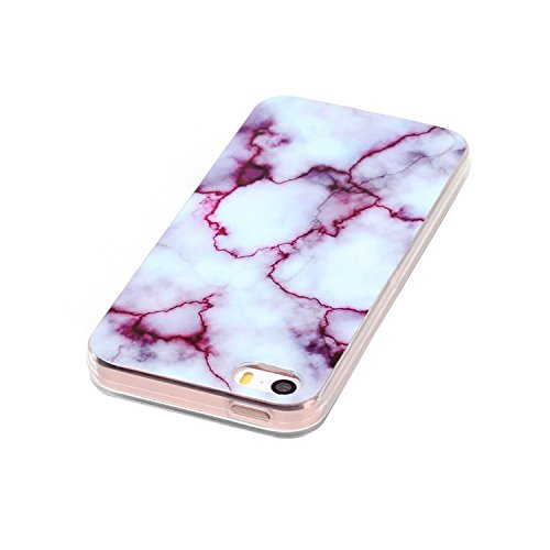 Apple iPhone 5 Marmor-Hülle schwarz [ TPU Case Marmormuster Optik ] Smartphone Schutzhülle Cover Marble Muster Marmor Design   Movoja®   schwarz-Marmor Marmor Lila