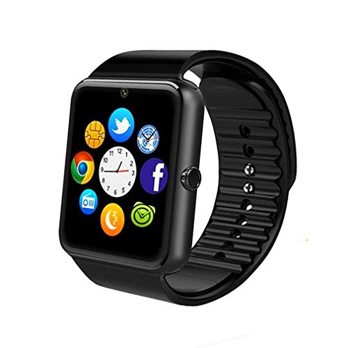 Bluetooth-Smart-Watch-Phone-with-SIM-Card-SlotCameraPedometer-for-Android-HTC-Sony-Samsung-LG-Google-Pixel-Pixel-and-iOS-iPhone-Sweatproof-black
