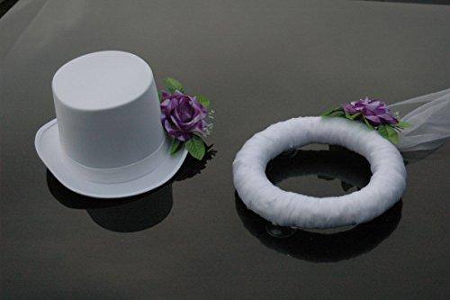 Autoschmuck Schleier UND Hut Auto Schmuck Braut Paar Rose Deko Dekoration Hochzeit Car Auto Wedding Deko PKW (Lila/Weiß) (Lila Wedding Und Weiße)