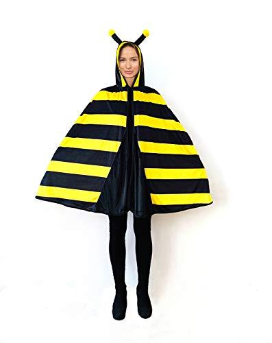 Biene Kostüm Damen Herren Erwachsene Mädchen - Tierkostüm Umhang Cape Flügel für Karneval Fasching Kindheitshelden wie Biene Maja - auch für großen Größen XL 48, 50, 58 - weiches Plüsch Samt Material