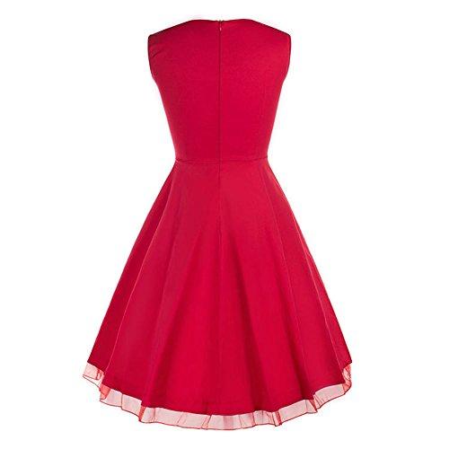 Dabag - 2017 Couleur pure ou rétro impression sans manches Hepburn style taille serrée jupe plissée collet carré genou longueur robe swing (M, Orange) Rouge