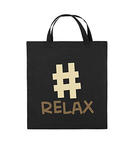 Borse Comedy - #relax - Borsa Di Juta - Manico Corto - 38x42cm - Colore: Nero / Bianco-neon Verde Nero / Marrone Chiaro-beige