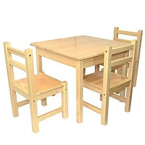 Mobili in legno per bambini set 4 pezzi un tavolino e tre - Tavolino legno bambini ...