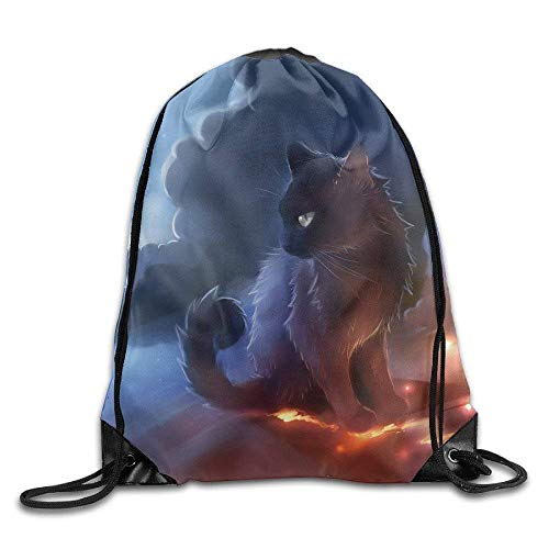 LINGJIE Lightweight Foldable Large Capacity Cat Warrior Gym String Tasche Drawstring Rucksack -