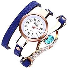 Montre Femme Angelof Les Femmes Enroulent Le Diamant Autour De Leatheroid  Montre-Bracelet De Quartz aa21ebcefc23