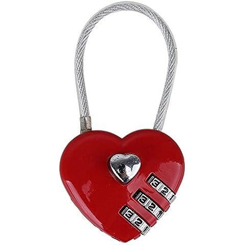 A forma di cuore, 3 cifre Trolley codificati-Lucchetto in lega di alluminio, colore: rosso