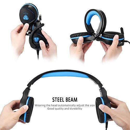 BUTFULAKE Gaming Headset, Audio Stereo Bass mit LED, Kopfhörer mit Controller Praxis, kompatibel für PS4, Xbox One, PC, Laptop, Tablet, Smartphone - 4