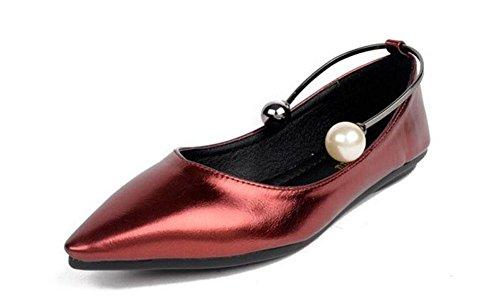 GLTER Donne chiuso Toe Pumps Court Shoes cinturino alla caviglia pompe estate nuovo appartamento scarpe a punta bocca superficiale Scarpe test piedi scarpe anello perla vestito dal partito Platform Sh red wine