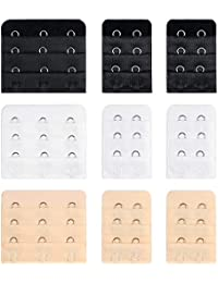 9Pcs Bra Extender Set of 3 Hooks and 2 Hooks Soft and Comfortable Women Bra Extensions-Black White and Beige