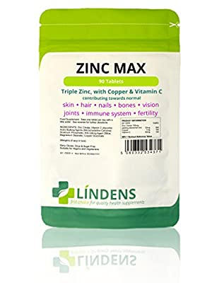 Zinc Max (Triple Strength Zinc, Copper & Vitamin C) 90 Tablets from Lindens
