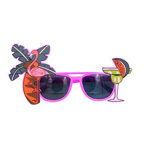 OULII Hawaiian Flamingo Brillen Kokosnussbaum Saft Gläser für Sommer Strand Bier Party Gefälligkeiten (lila)