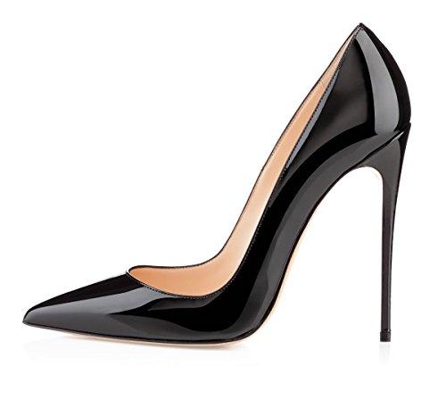 EDEFS Scarpe col Tacco Donna Classico High Heels Chiuse Davanti Scarpa Nero Taglia EU39