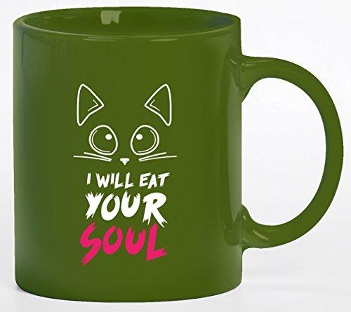 tüm Kaffeetasse Kaffeebecher mit Halloween - I Will Eat Your Soul Motiv, Größe: onesize,grün (Tasse Kaffee Halloween Kostüme)