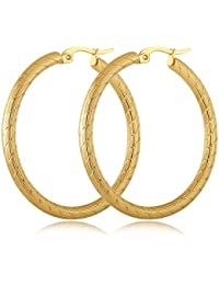 yumay 9ct oro Amarillo–Pendientes de aro trenzado, grandes pendientes de moda para Europea.
