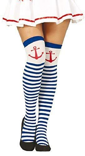 Damen Blau Weiß Gestreift Anker Marine Seemann Wren Henne Do Abend Party Hoch Schenkelhoch Kostüm Strumpfhose Strümpfe - Marine Blau Seemann Kostüm