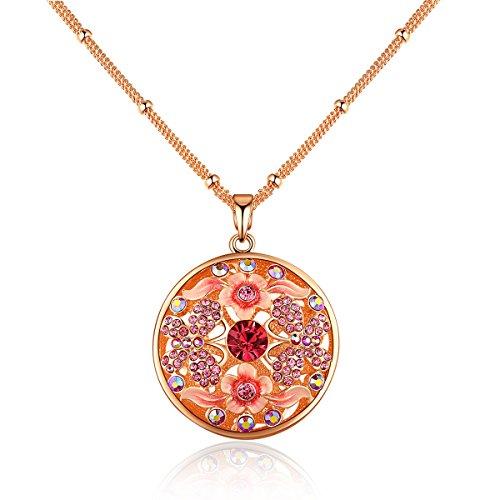 City Ouna® Catena in oro rosa placcato lungo goccia Pink Butterfly Collana-87CM (34,3