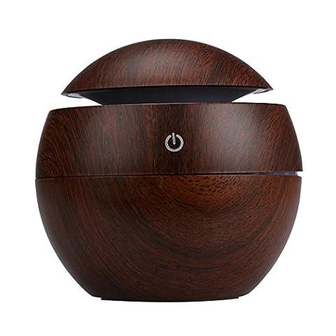 Humidifier - Kingwo LED Aroma Ultrasonic Humidifier USB Essential Oil Diffuser Air Purifier , 130ml (Brown)