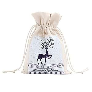 Yeshi sacca Merry Christmas Santa Claus albero di Natale corona stampa su tela Gift Storage Cinch bag Kids Gift Candy Toys bag 10#