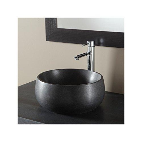 Vasque à poser bol en pierre noire absolue et forme de bol