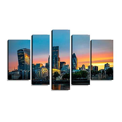 Inbel Kunst Skyline of The City in London, England at Sonnenuntergang Wandbilder abstrakt Leinwandbild Digitalkunstdruck leinwanddrucke Eigenes Design Gemälde Wanddekoration mit Holzrahmen 5-teilig