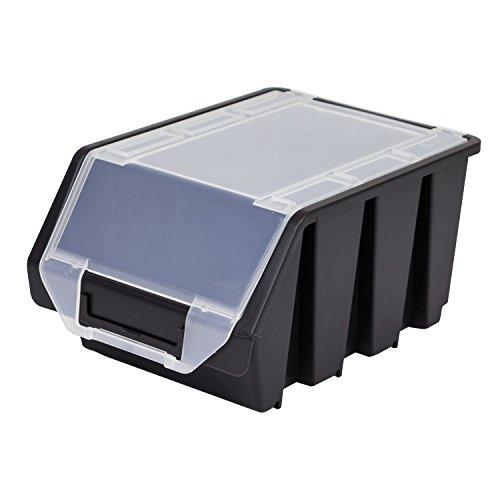 Stapelbox Stapelkiste Sortierbox Ergobox mit Deckel Gr. 3 schwarz Lager