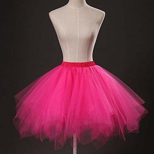 VKStar® Retro Damen Kurz Rock Ballett Einheitsgröße Vintage petticoat 50er Unterrock Reifrock Mehrfarbige Unterröcke Rose Rot