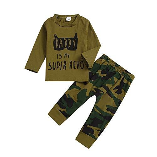 Fenverk 2Pc Neugeborenes Kinder Baby Jungs Outfits Kleider Brief T-Shirt Tops Tarnen Hose Kleinkind LangäRmlig Kapuzenpullover Sweatshirts + Hosen Outfit 0-1 Jahre(Braun,18-24 ()